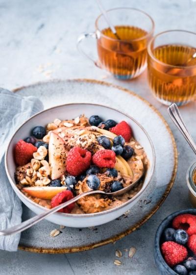Havermout ontbijt met pindakaas