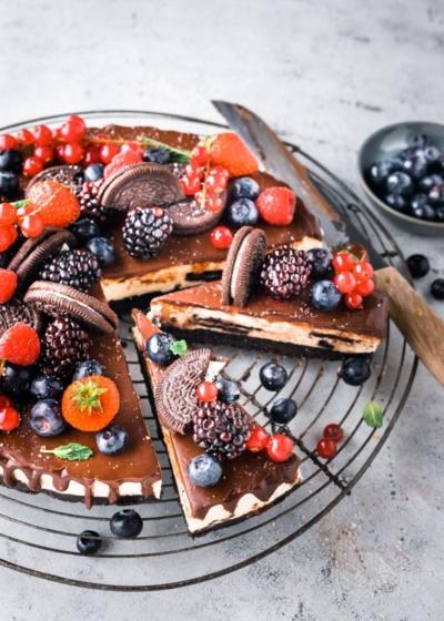 Oreo taart met vers fruit