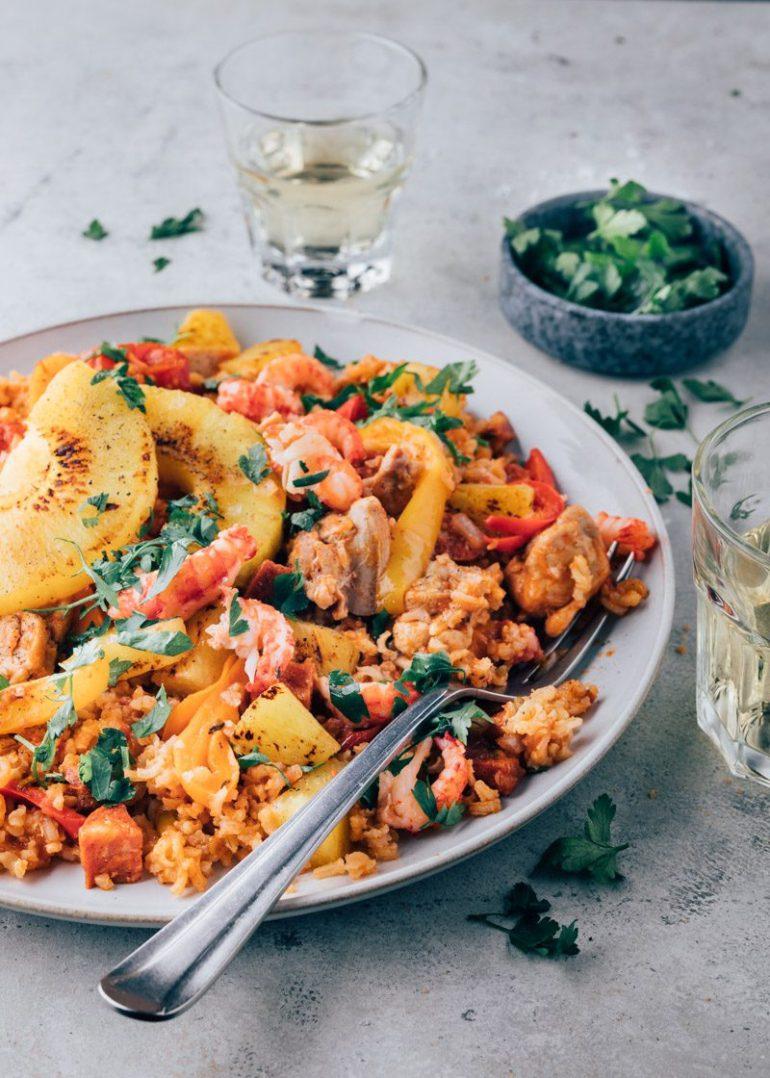 Jambalaya rijstschotel met kip