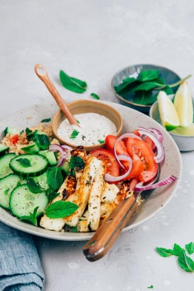 Couscous salade met halloumi